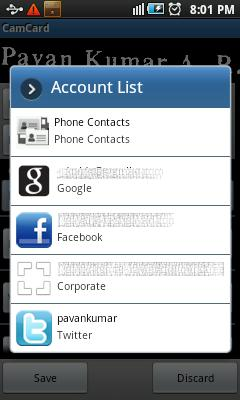 Save scanned business card into phone accounts
