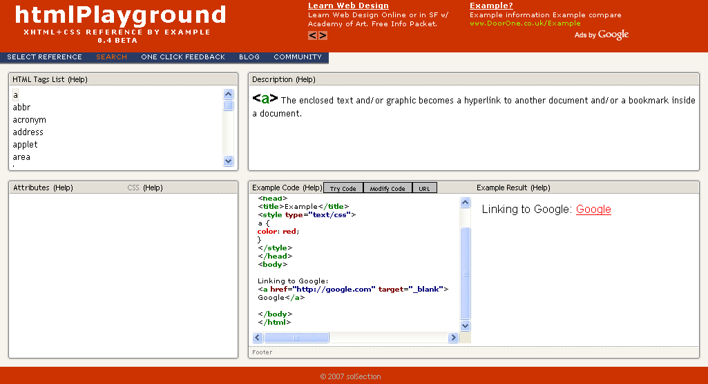 htmlPlayground screenshot