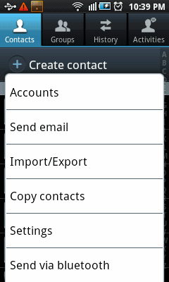 Android phone contact import export menu