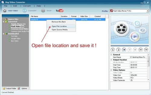 Converting video to flv format - output file