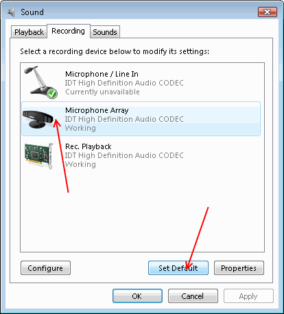Dell internal microphone recording settings