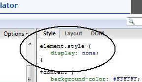display:none section added by domtab