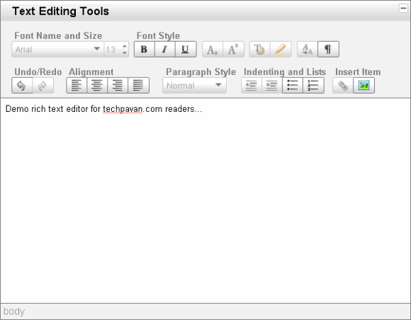 easy integration of rich text editor on html webpages