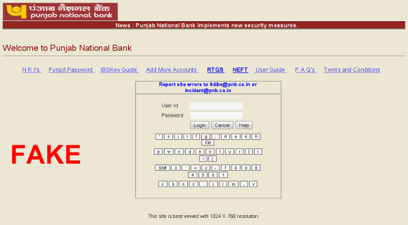 fake net banking login page