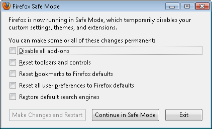 Firefox open in safe mode - options