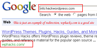 example of redirection type forged page rank