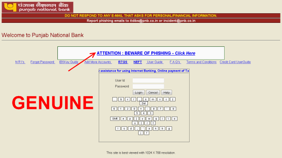 genuine net banking login page