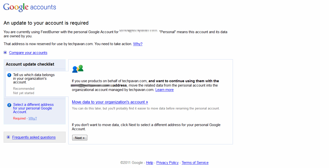 Move conflicting data from google apps to google account