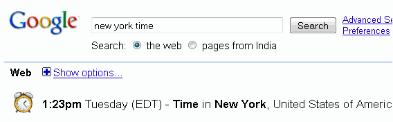 International time check with Google