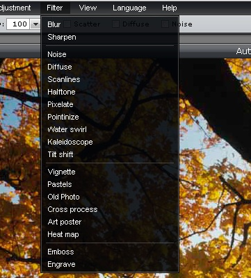 filter options available on free image editor