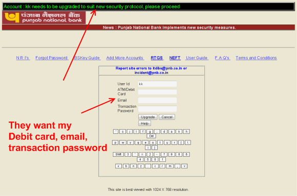 logged into phishing website
