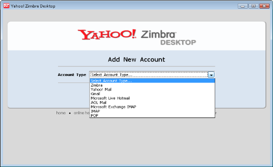 Setup mail account on Yahoo Zimbra Desktop