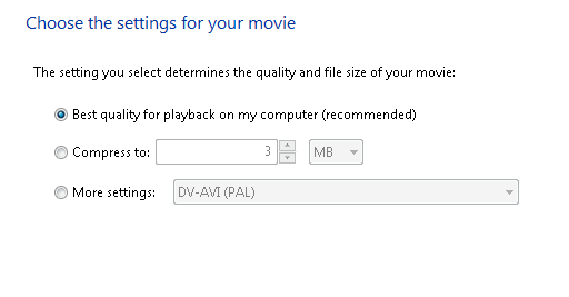 convert windows movie maker to avi settings