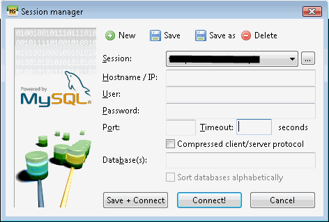 MySQL desktop client session manager