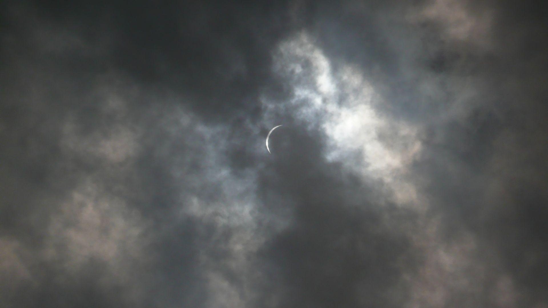 Partial solar eclipse seen at Miyazaki, Japan