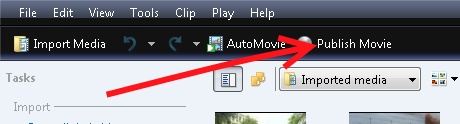 Windows movie maker publish movie