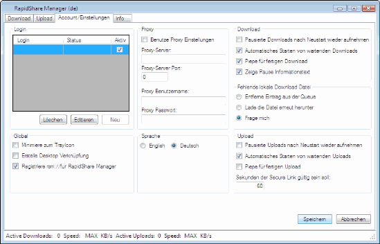 Rapidshare Tools: File Manager software