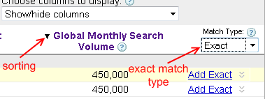 Sort based on global search queries, Match type set to exact