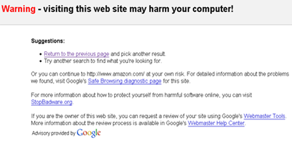 Malware warning - This site may harm your computer