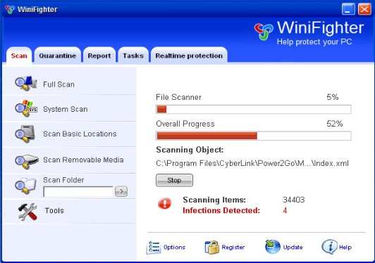 remove winifighter virus rogue software