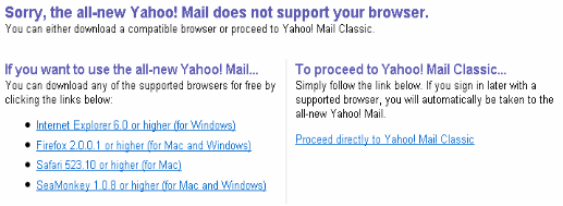 Firefox 3.6 does not support Yahoo Mail Beta