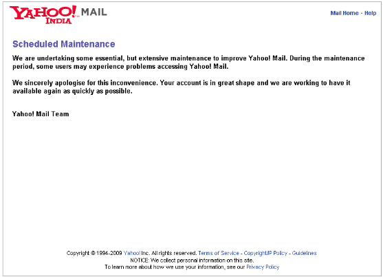 Yahoo mail down - scheduled maintenance