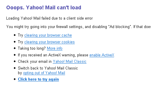 Yahoo! Mail not accessible