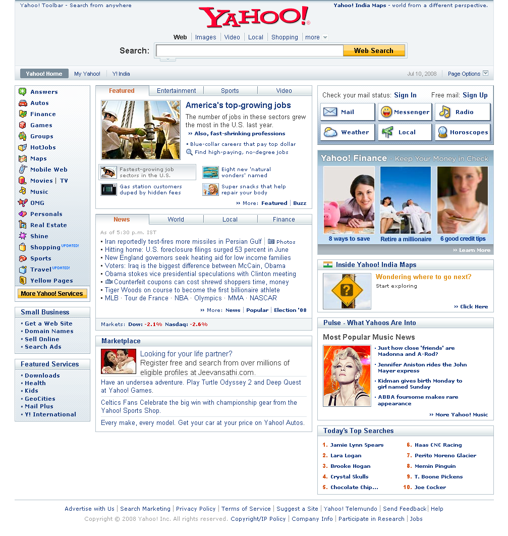 Yahoo Home page - captured as a whole webpage