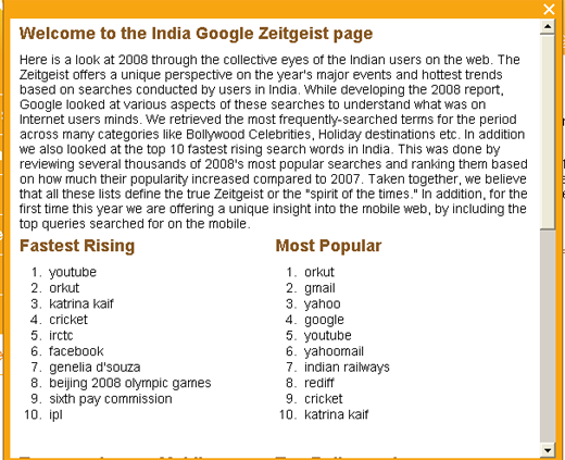 zeitgeist 2008 for India featuring fastest rising search queries